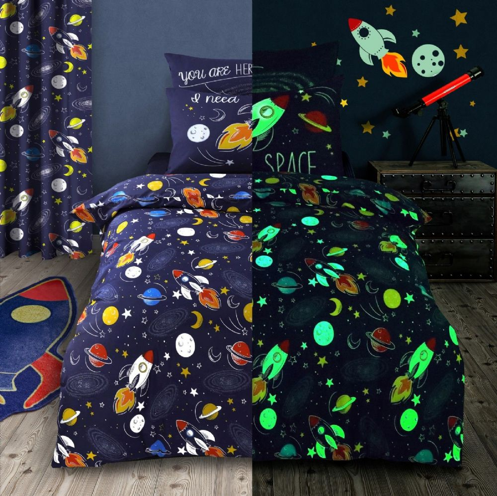 KIDS GLOW IN DARK SPACE ROCKET STARS BEDDING DUVET QUILT COVER SET OR CURTAINS